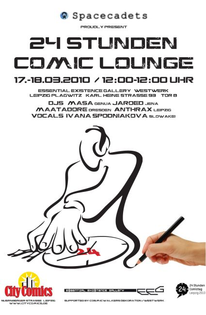 Flyer 24 stunden comic lounge